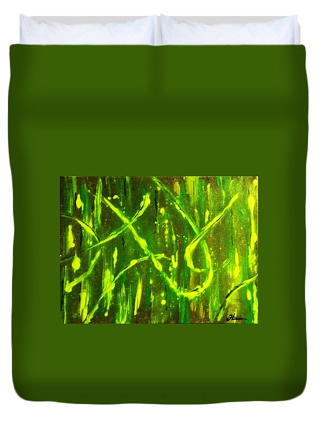 Abstract Duvet Cover featuring the painting Envy by Todd Hoover