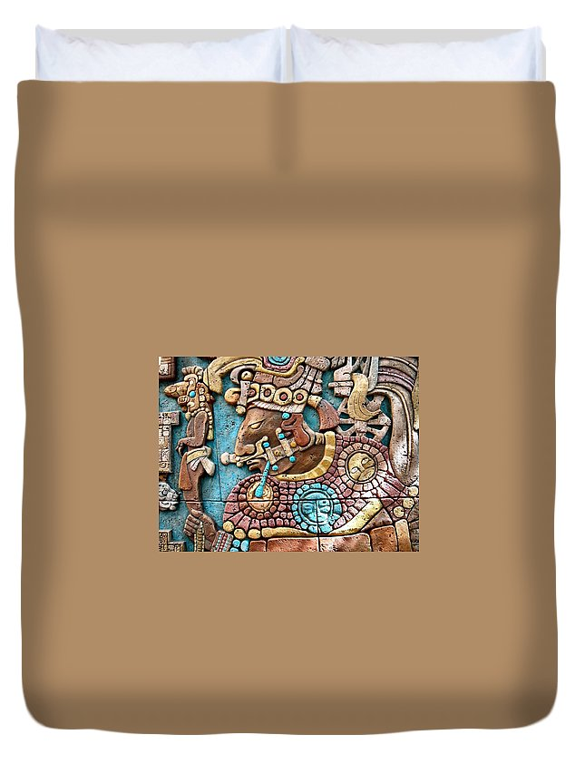 Aztec Duvet Cover featuring the photograph Epcot Mayan Warrior by Nora Martinez