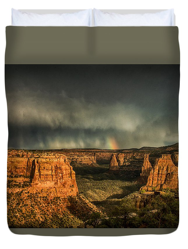 Colorado Duvet Cover featuring the photograph Epic Monument Sunset #3 by Dawn Morrow