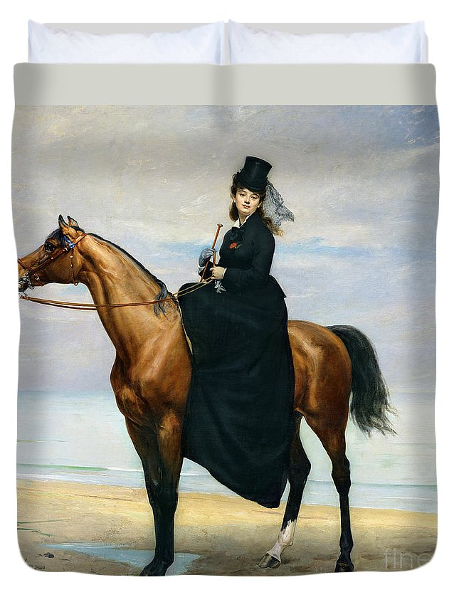 Equestrian Duvet Cover featuring the painting Equestrian Portrait Of Mademoiselle Croizette by Charles Emile Auguste Carolus Duran
