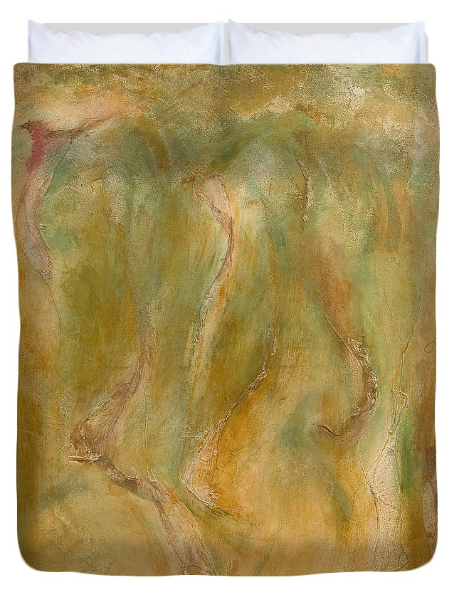Abstract Duvet Cover featuring the painting Equos by Laura Warburton