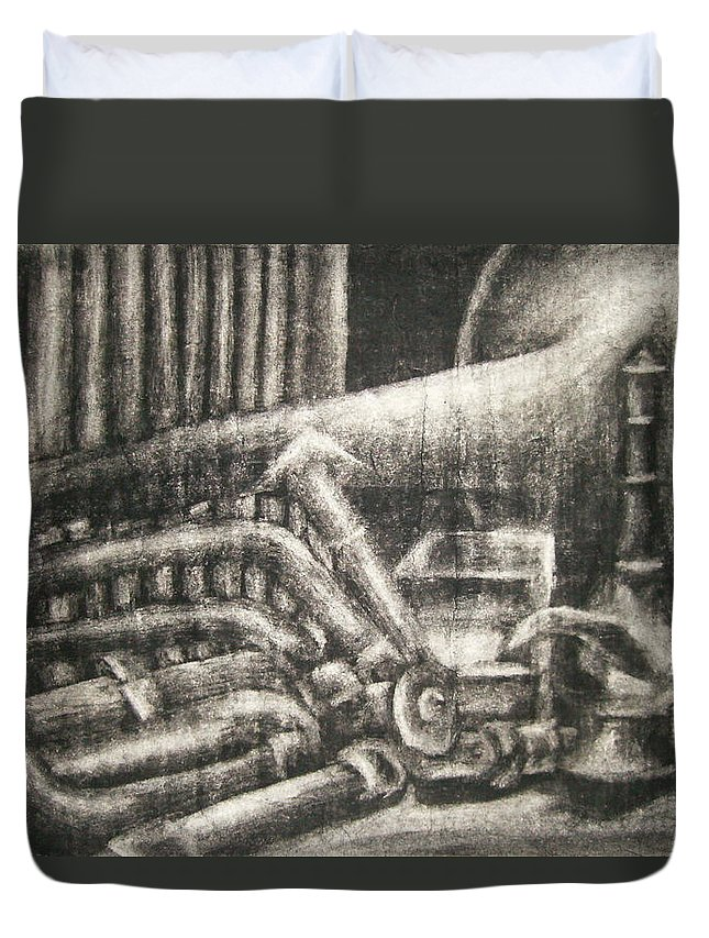 Music Duvet Cover featuring the drawing Erasable Still Life by Ashley Warbritton