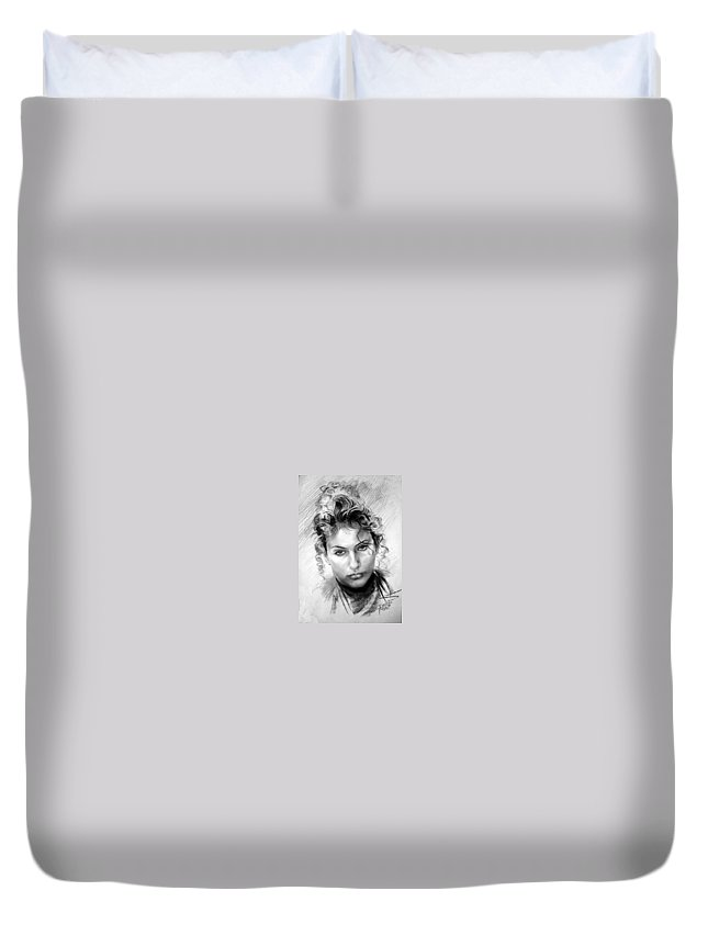 Portrait Duvet Cover featuring the drawing Erbora by Ylli Haruni