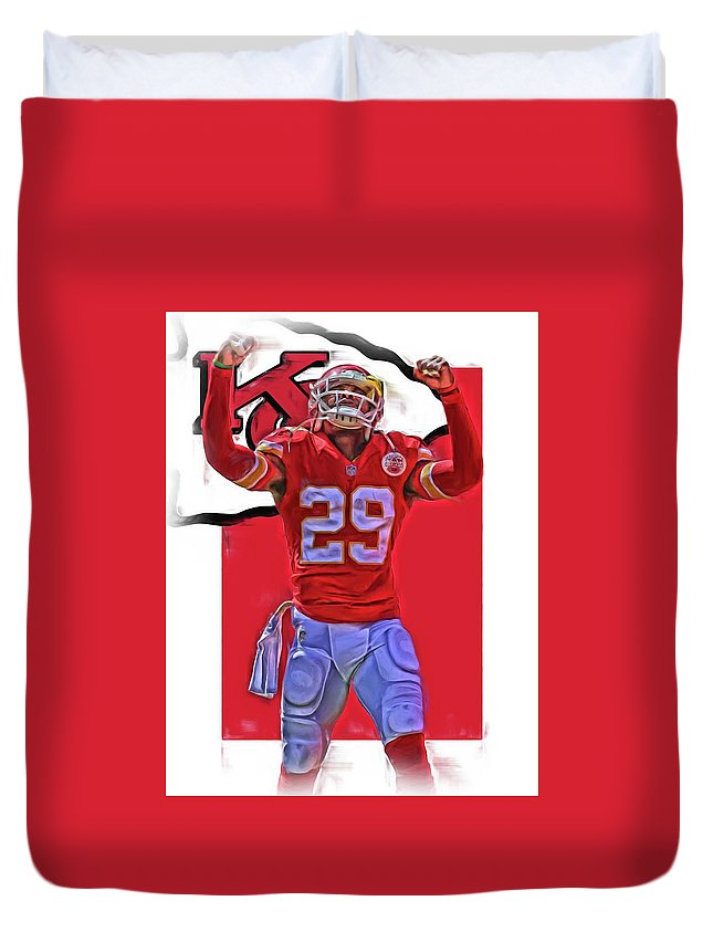 Eric Berry Duvet Cover featuring the mixed media Eric Berry Kansas City Chiefs Oil Art by Joe Hamilton