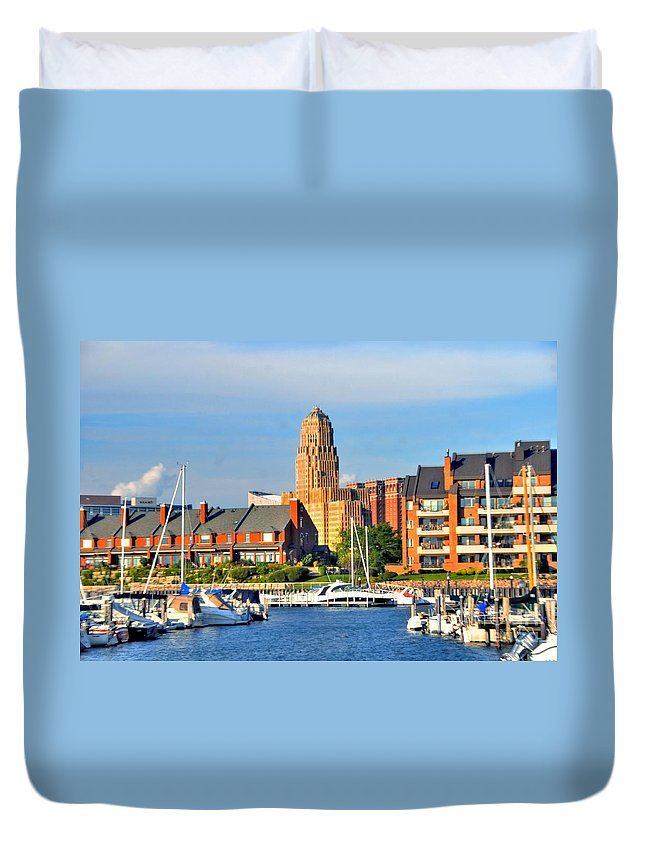 Marina Duvet Cover featuring the photograph Erie Basin Marina by Kathleen Struckle