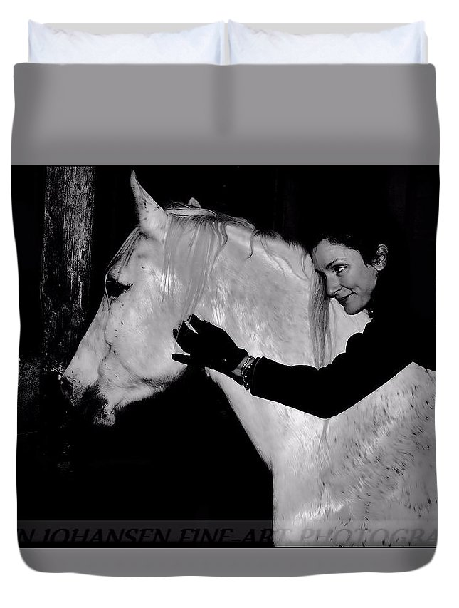 White Horse Duvet Cover featuring the digital art Erin and Mikey by Dawn Johansen