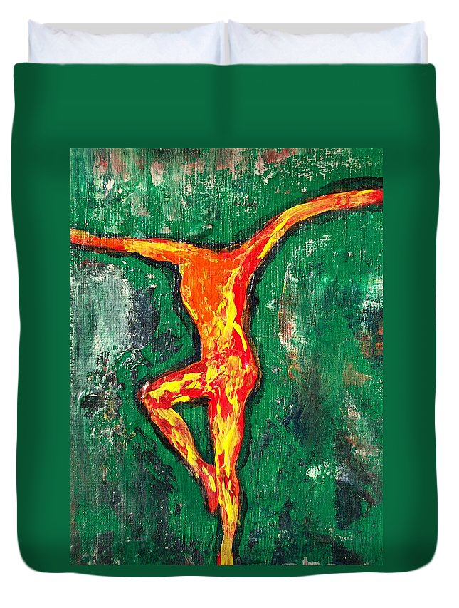 Fire Duvet Cover featuring the painting Erin by Laurette Escobar