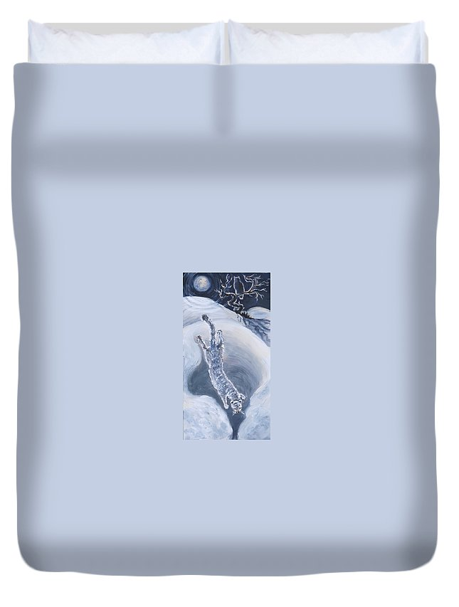 Animal Duvet Cover featuring the painting Ermine Diving Into Drift From River Mural by Dawn Senior-Trask