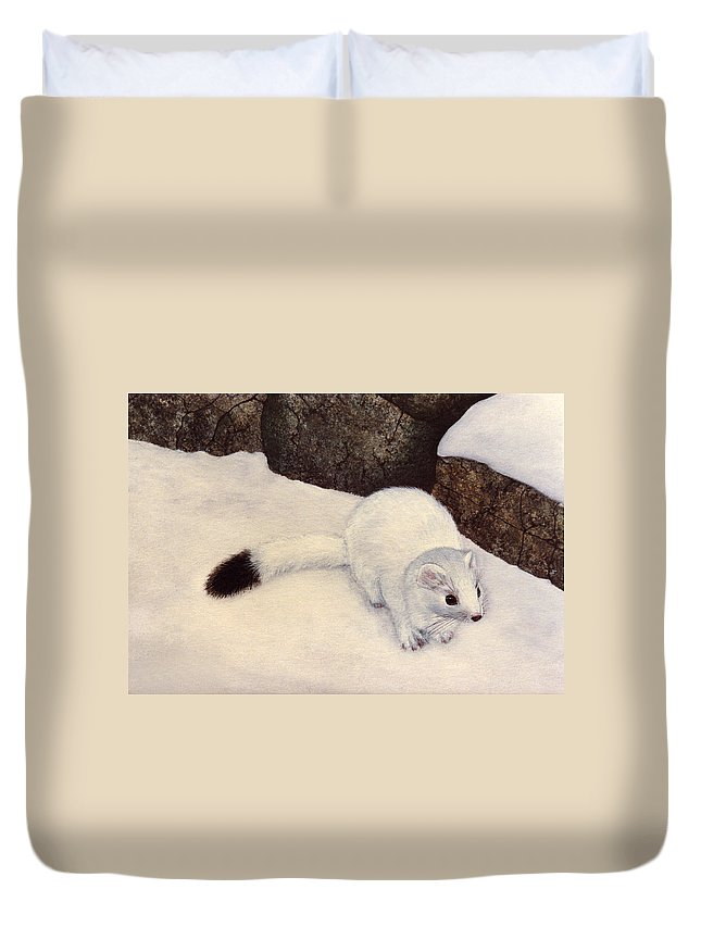 Wildlife Duvet Cover featuring the painting Ermine In Winter by Frank Wilson
