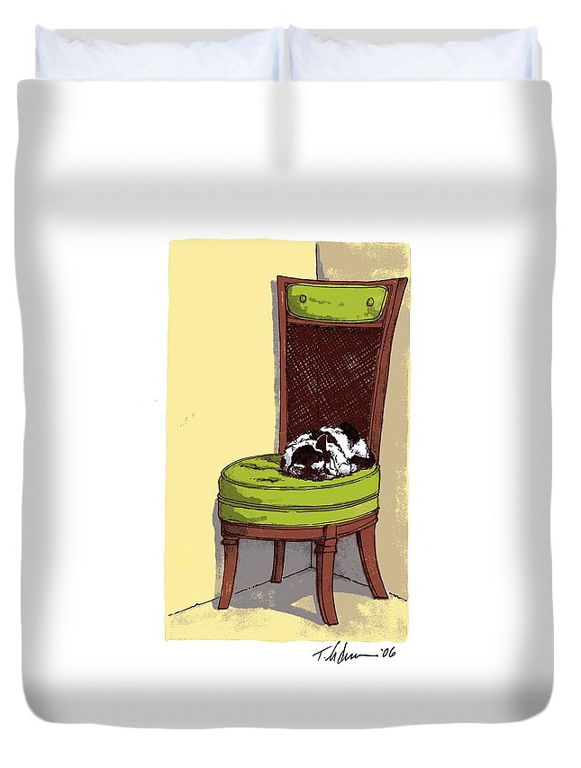 Cat Duvet Cover featuring the drawing Ernie And Green Chair by Tobey Anderson