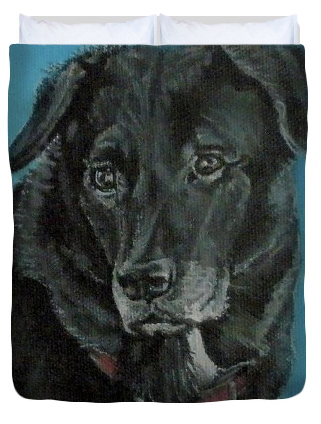 Dog Duvet Cover featuring the painting Ernie by Penny Price