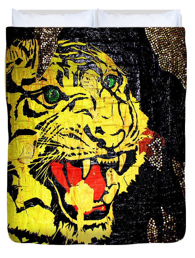 Tiger Duvet Cover featuring the painting Eros by Federico Biancotti