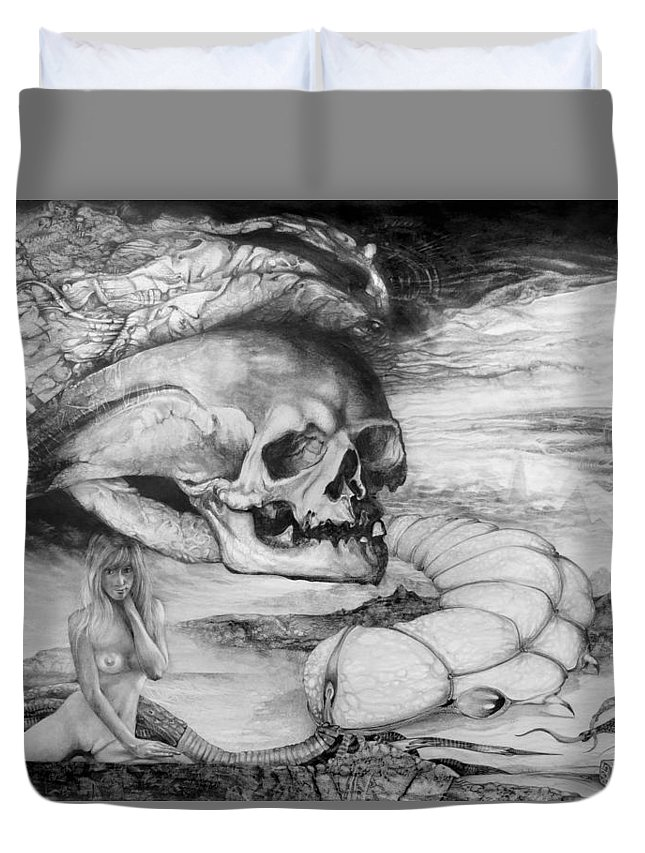 Art Of The Mystic Duvet Cover featuring the drawing Eros Thanatos by Otto Rapp
