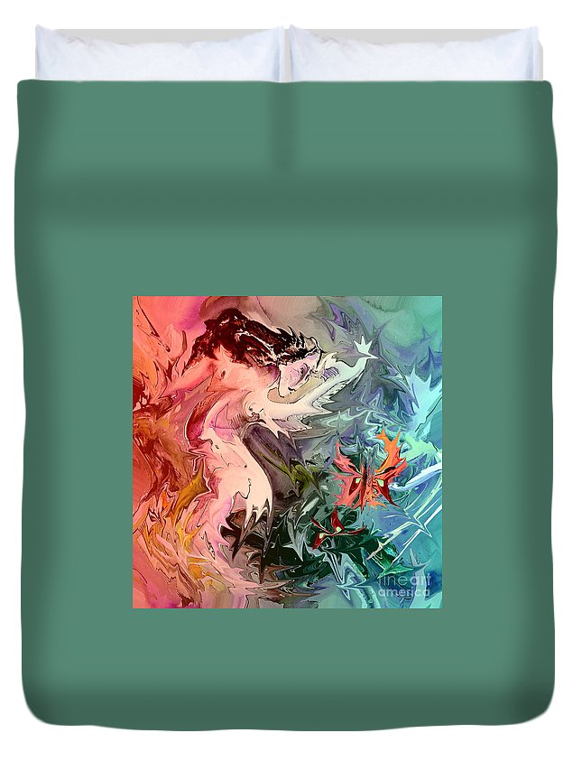 Miki Duvet Cover featuring the painting Eroscape 08 1 by Miki De Goodaboom