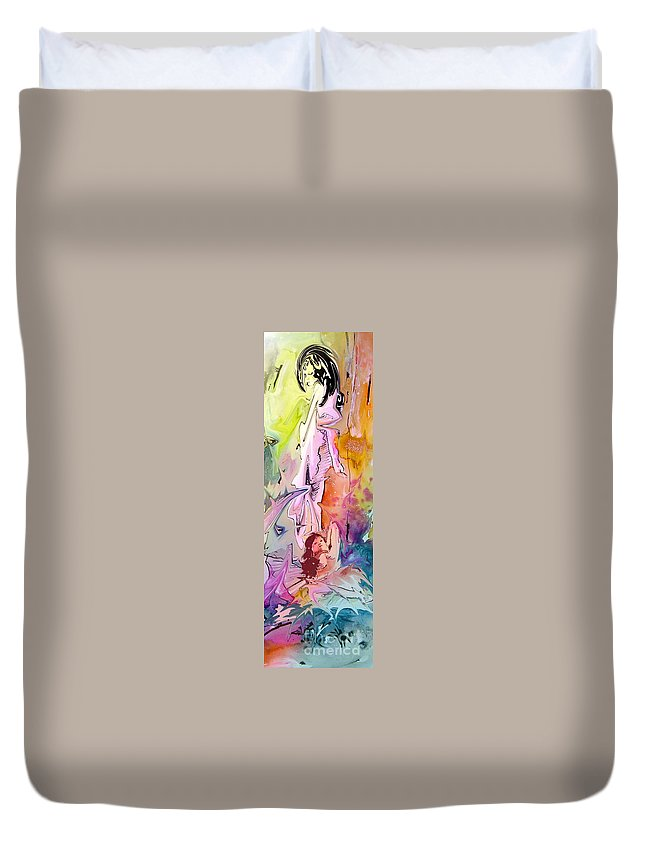 Miki Duvet Cover featuring the painting Eroscape 09 1 by Miki De Goodaboom