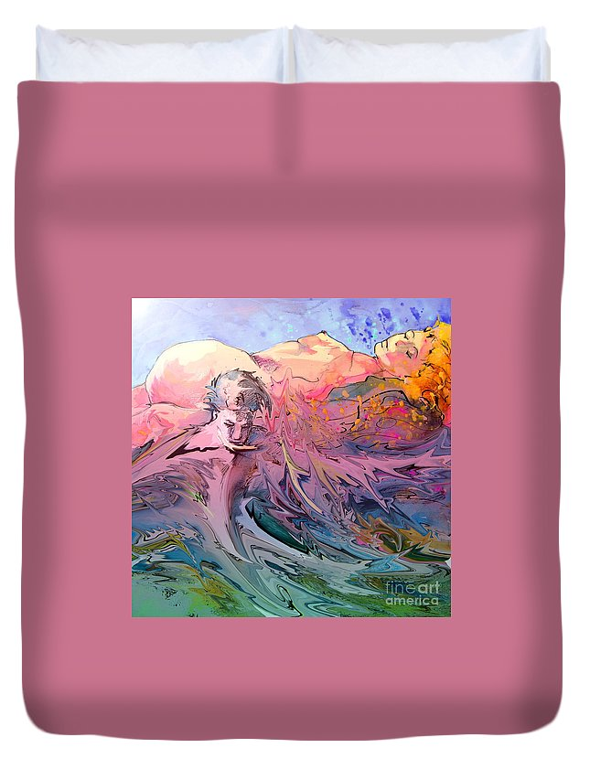 Miki Duvet Cover featuring the painting Eroscape 10 by Miki De Goodaboom