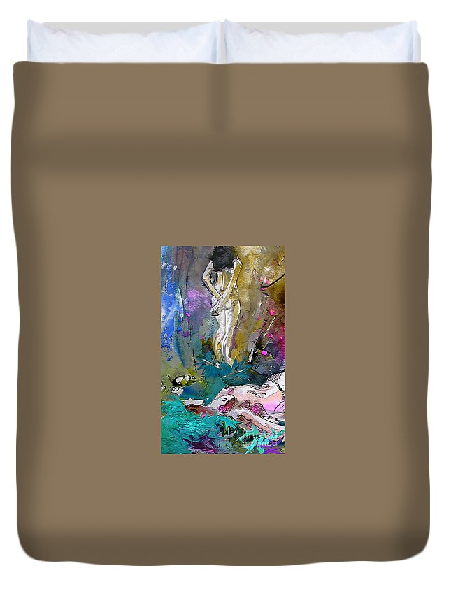 Miki Duvet Cover featuring the painting Eroscape 1104 by Miki De Goodaboom