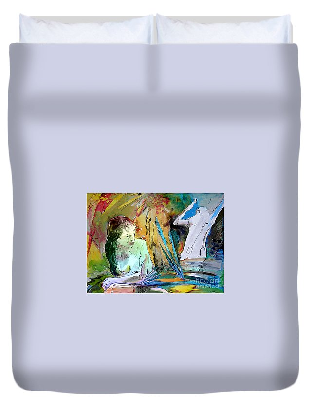 Miki Duvet Cover featuring the painting Eroscape 15 1 by Miki De Goodaboom