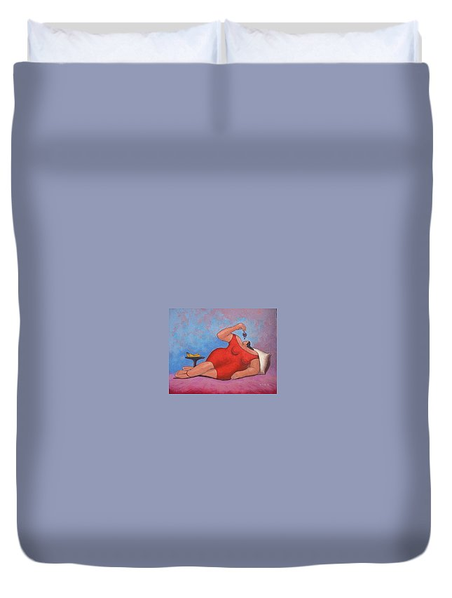 Acrylic Duvet Cover featuring the painting Erotic Grapes by Vico Vico