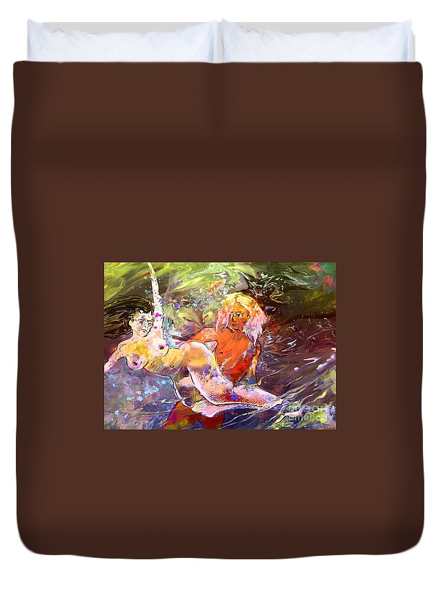 Miki Duvet Cover featuring the painting Erotype 06 1 by Miki De Goodaboom