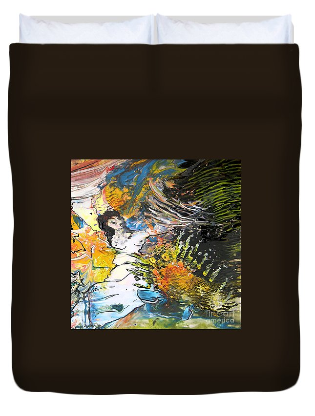 Miki Duvet Cover featuring the painting Erotype 07 2 by Miki De Goodaboom