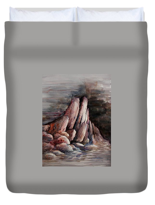 Landscape Duvet Cover featuring the painting Eruption by Rachel Christine Nowicki