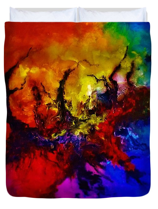 Acrylic Duvet Cover featuring the painting Eruptive Force by John Cocoris