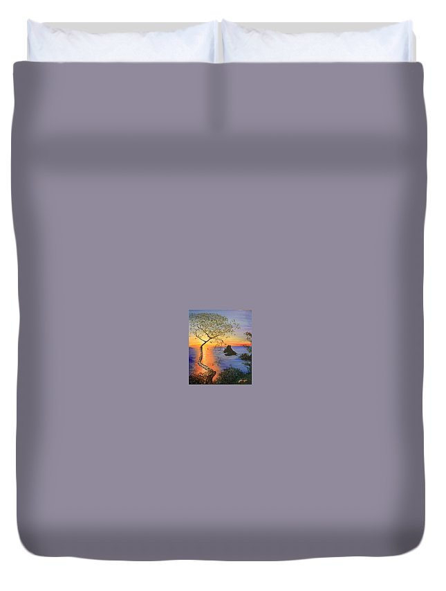 Sunset Duvet Cover featuring the painting Es Vedra Island Off Ibiza South Coast by Lizzy Forrester