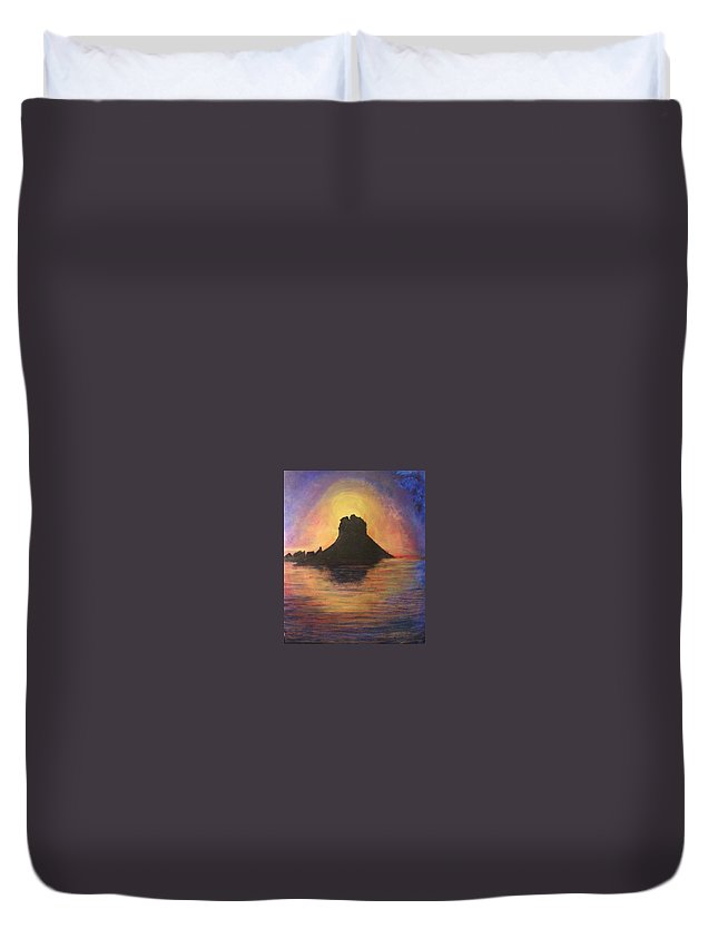 Sunset Duvet Cover featuring the painting Es Vedra Sunset I by Lizzy Forrester
