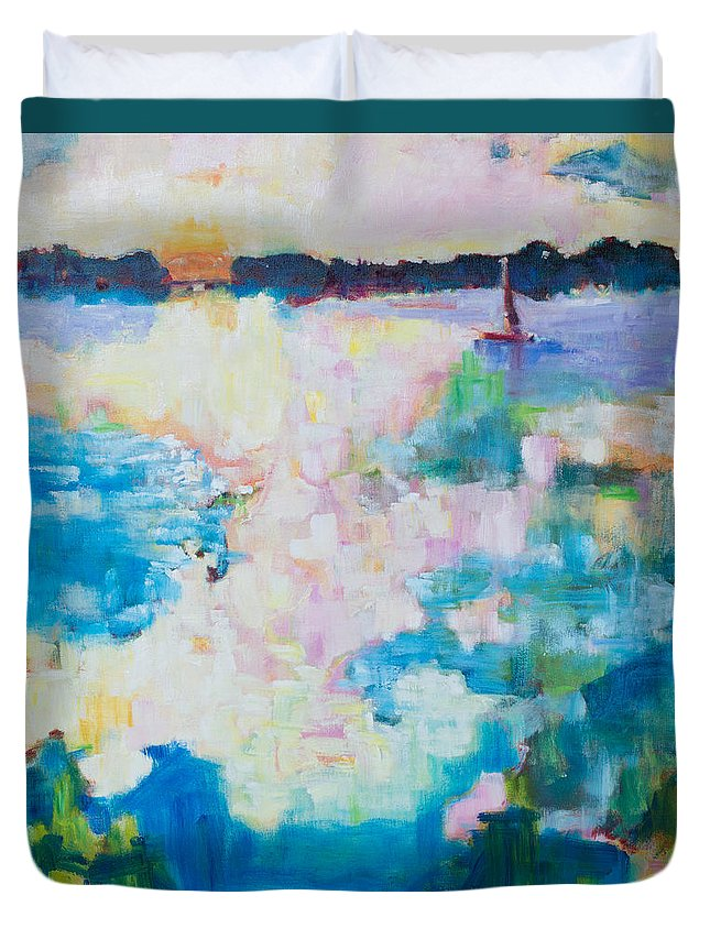Ocean Duvet Cover featuring the painting Escapade by Susan Scoggins