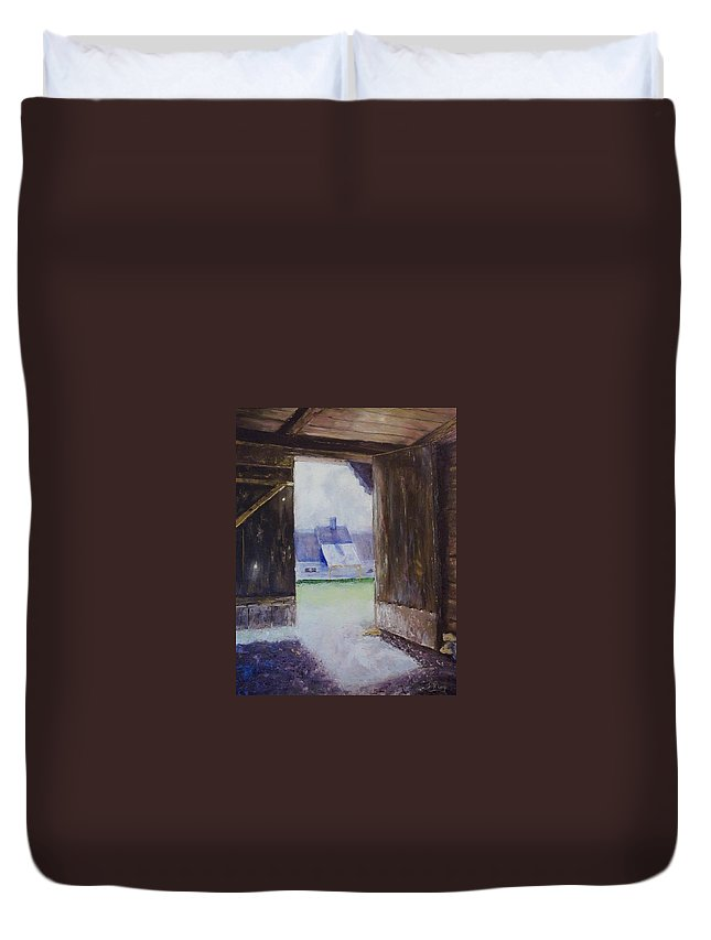 Shed Duvet Cover featuring the painting Escape The Sun by Stephen King