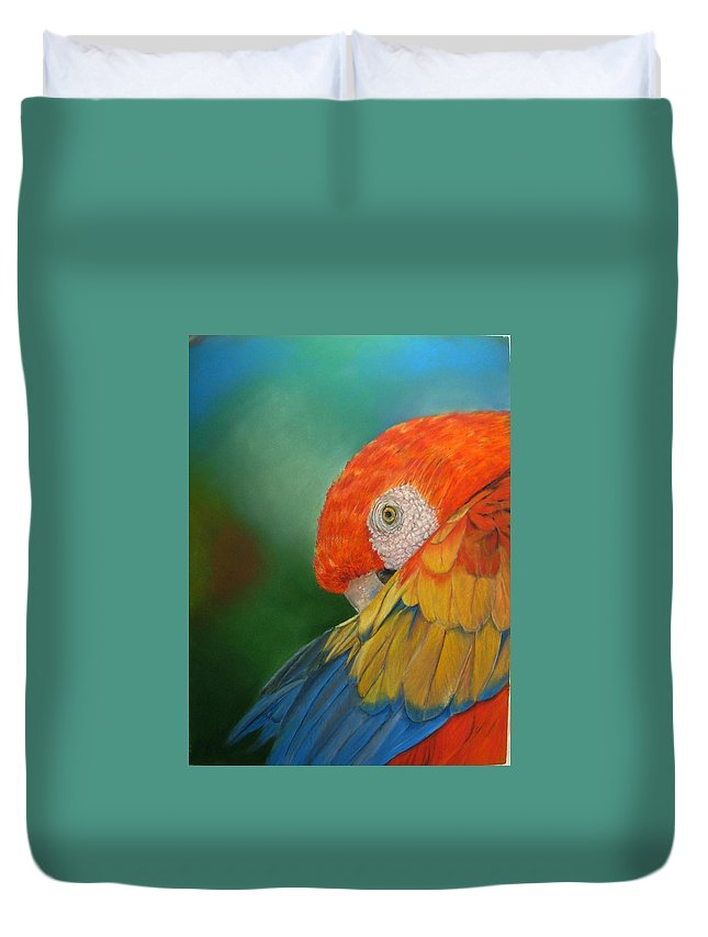 Bird Duvet Cover featuring the painting Escondida by Ceci Watson