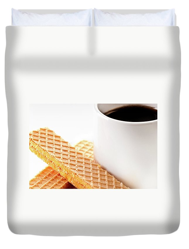 Espresso Coffee Duvet Cover featuring the photograph Espresso And Lemon Wafer by Onyonet Photo Studios