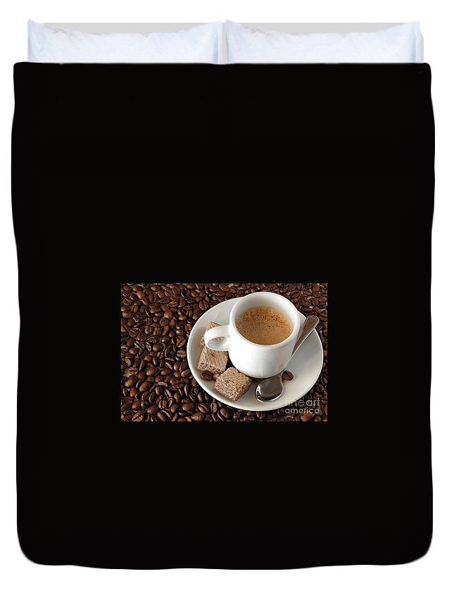 Addiction Duvet Cover featuring the photograph Espresso Coffee by Carlos Caetano
