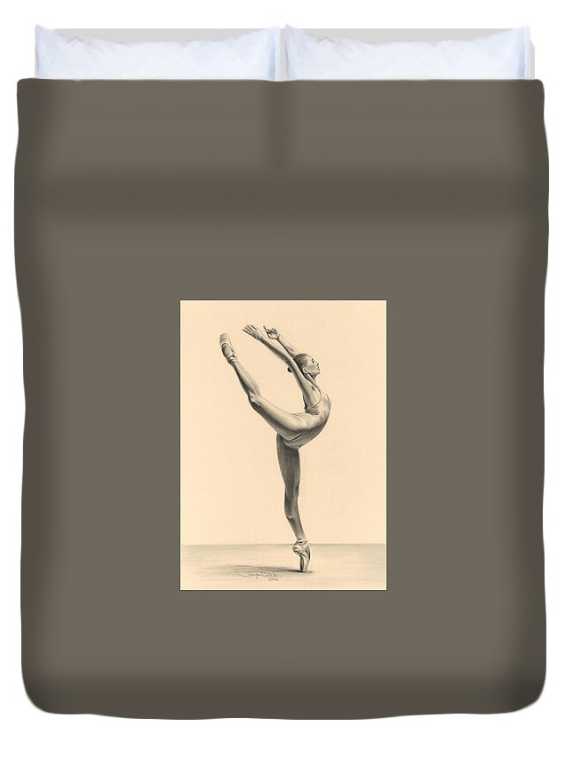 Ballet Duvet Cover featuring the drawing Esquisite by Tonya Butcher