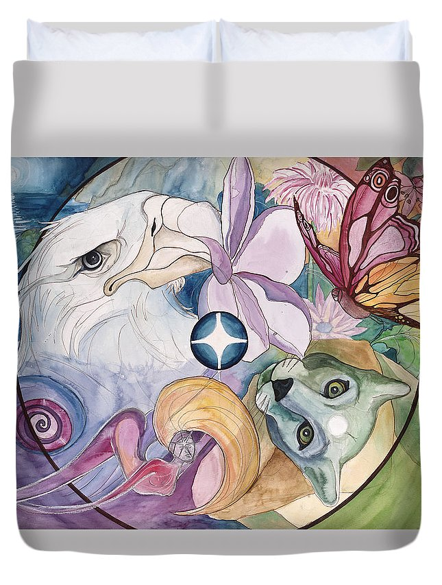 Wildlife Duvet Cover featuring the painting Essence Wheel by Kimberly Kirk