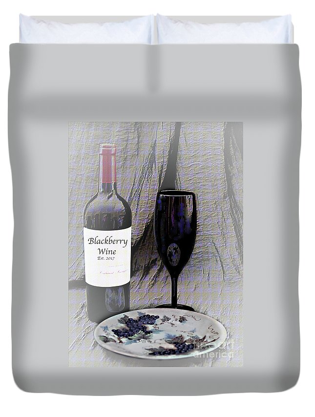 Still Life Duvet Cover featuring the photograph Est 2017 Blackberry Wine by Sherry Hallemeier
