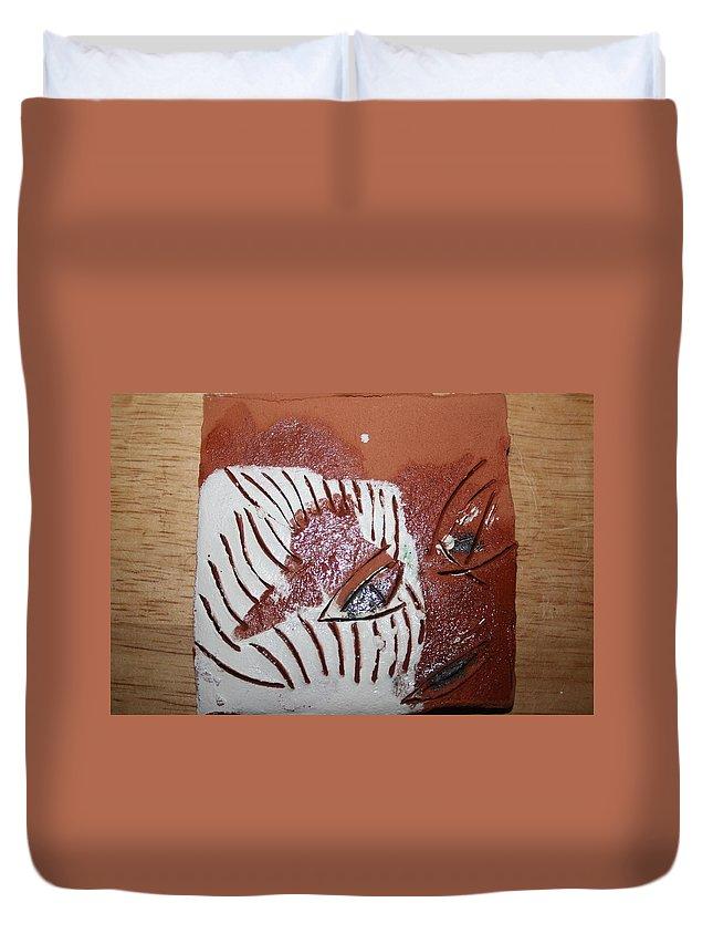 Jesus Duvet Cover featuring the ceramic art Estelle - Tile by Gloria Ssali