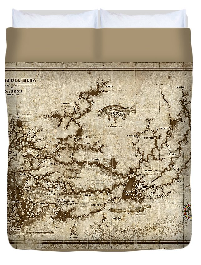 Vintage Map Duvet Cover featuring the digital art Esteros Del Ibera by Tito Saenz Rozas