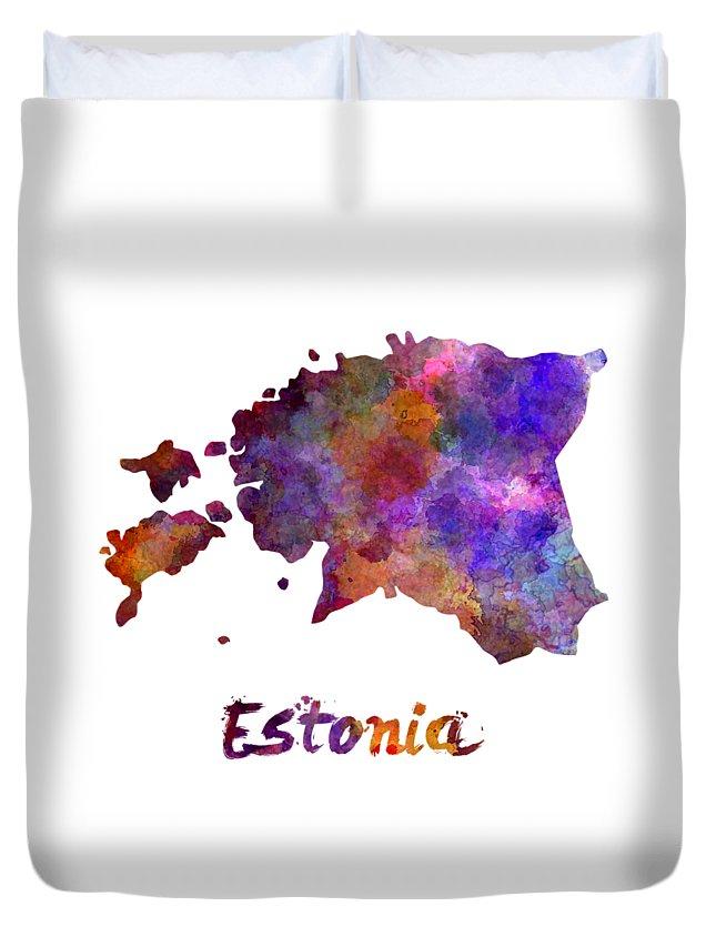 Estonia Duvet Cover featuring the painting Estonia In Watercolor by Pablo Romero