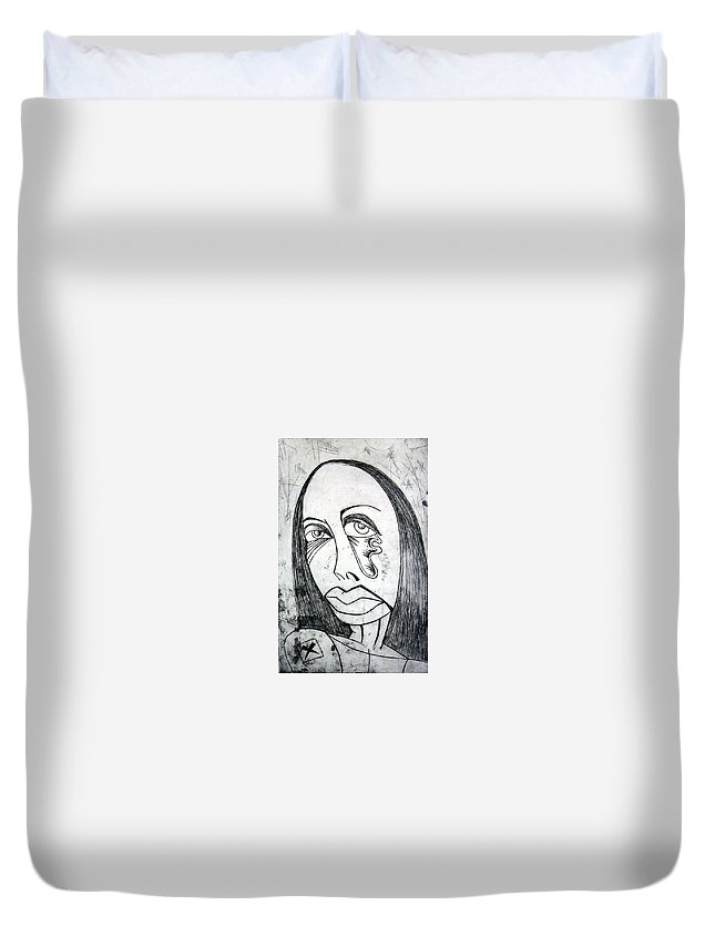 Girl Duvet Cover featuring the print Etching by Thomas Valentine