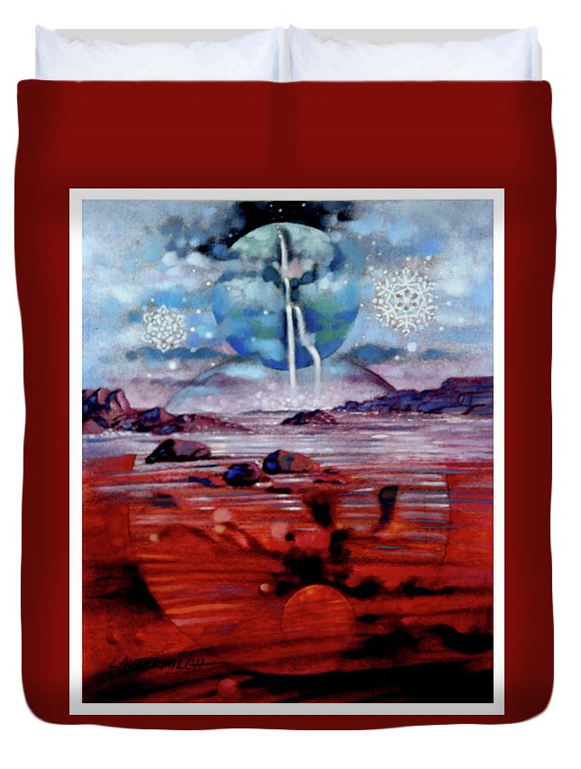 Planets Duvet Cover featuring the painting Eternal Creation by John Lautermilch
