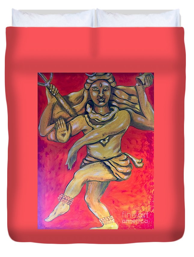 Shiva Duvet Cover featuring the painting Eternal Dancer by Brindha Naveen