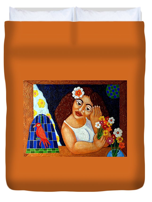 Eve Duvet Cover featuring the painting Eternal Eve - II by Madalena Lobao-Tello