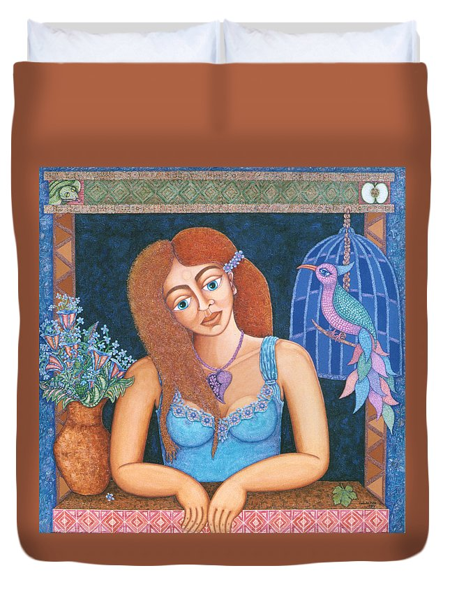 Eve Duvet Cover featuring the painting Eternal Eve by Madalena Lobao-Tello