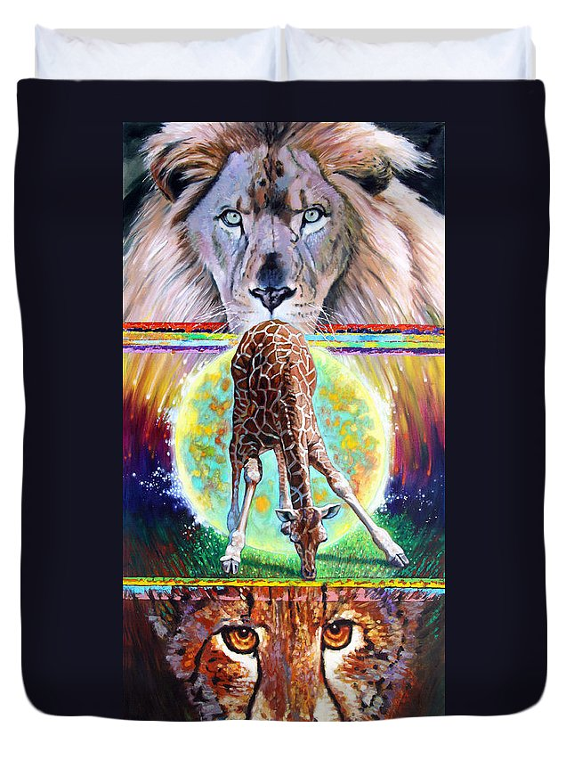Lion Duvet Cover featuring the painting Eternal Nature Of Our Universe by John Lautermilch