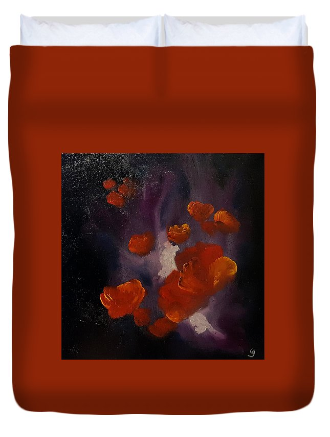 Poppies Duvet Cover featuring the painting Ethereal Poppies           81 by Cheryl Nancy Ann Gordon