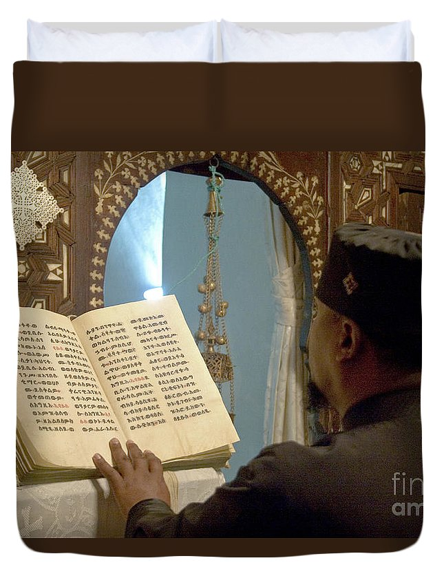 Christian Duvet Cover featuring the photograph Ethiopian Priest by Danny Yanai