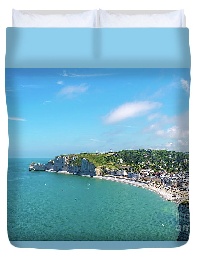 France Duvet Cover featuring the photograph Etretat From Above, France by Sinisa CIGLENECKI