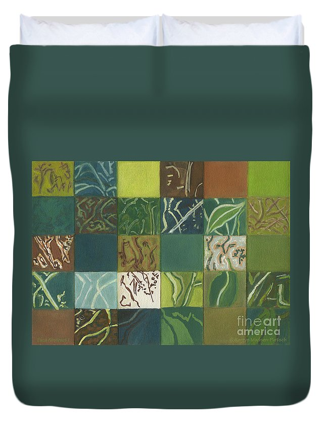 Eucalyptus Duvet Cover featuring the painting Euca Abstract I by Kerryn Madsen-Pietsch